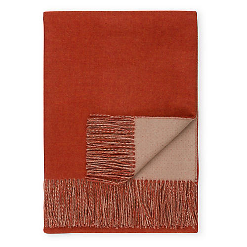 Reversible Alpaca Throw, Orange/Light Camel