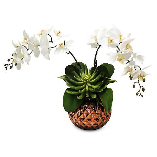 "21"" White Orchids w/ Round Vase, Faux"