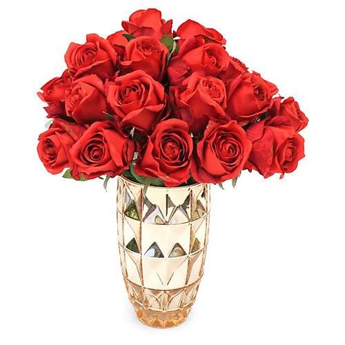 "18"" Red Rose Arrangement w/ Metallic Vase, Faux"