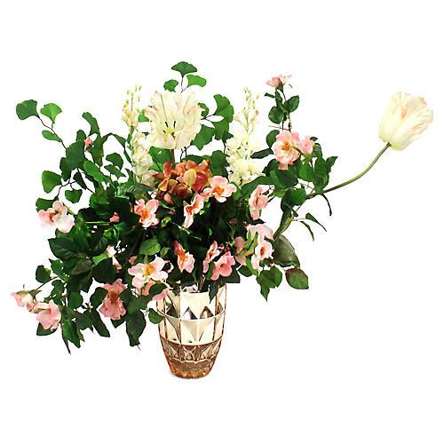 "24"" Wild Rose Mix w/ Metallic Vase, Faux"