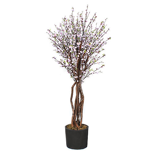 "94"" Pink Blossom Tree w/ Planter, Faux"