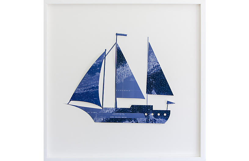 Dawn Wolfe, Long Island Map Sailboat