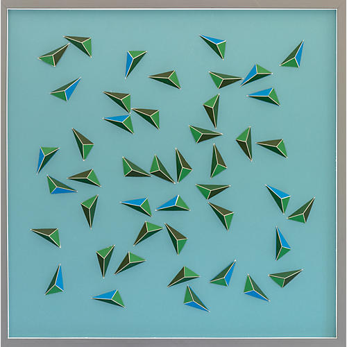 Dawn Wolfe, Emerald Green Abstract Origami Collage