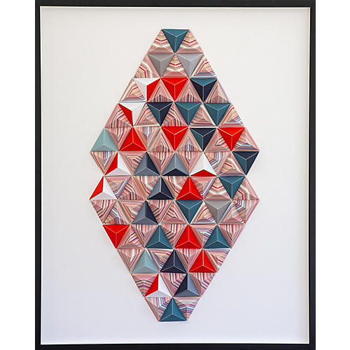 Dawn Wolfe, Teal/Striped Origami Collage