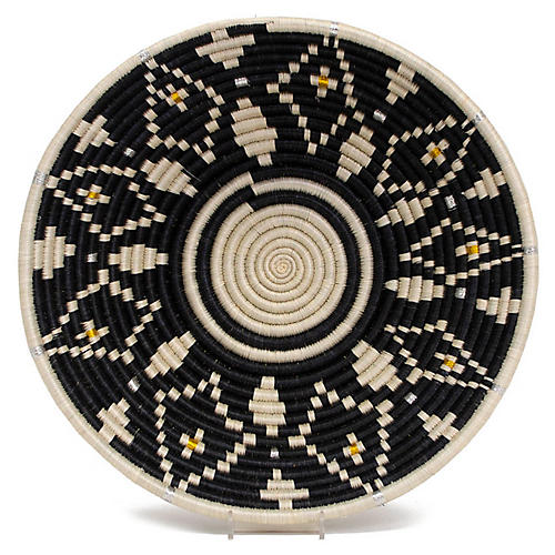 "14"" Cheza Decorative Bowl, Black/Ivory"