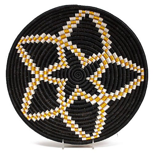 "12"" Gilded Nyota Decorative Bowl, Black"