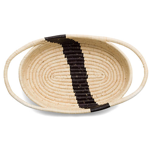 "13"" Upendo Striped Oval Basket, Natural/Black"