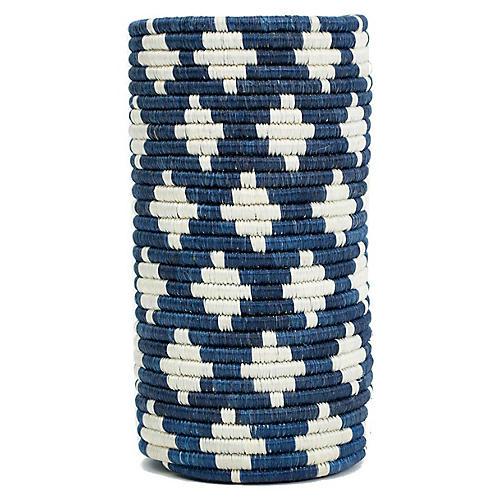 """9"""" Almasi Vase w/ Glass Liner, Blue/White"""
