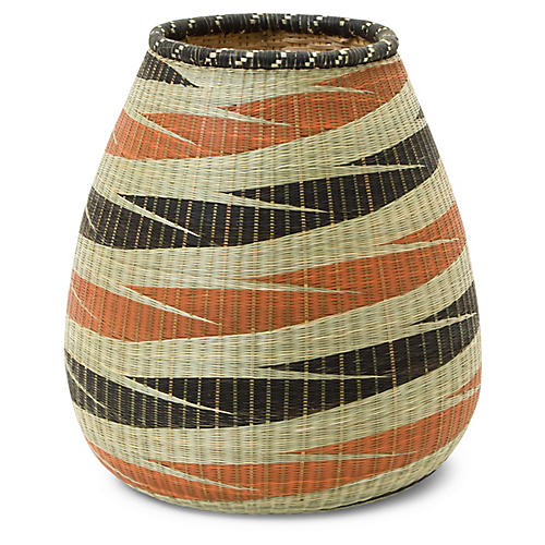"11"" Panthera Decorative Vase, Orange/Black"