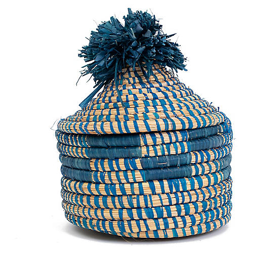 "6"" Kibanda Pom-Pom Box, Blue/Natural"
