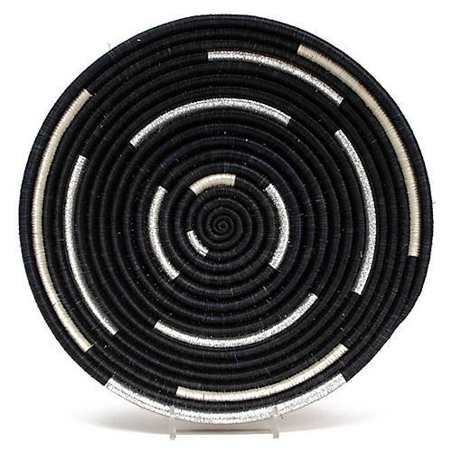 "10"" Kati Spiral Decorative Tray, Black/White"