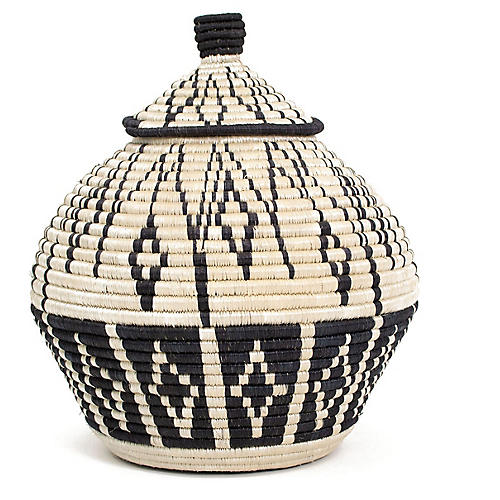"14"" Sanaa Basket w/ Lid, Natural/Black"