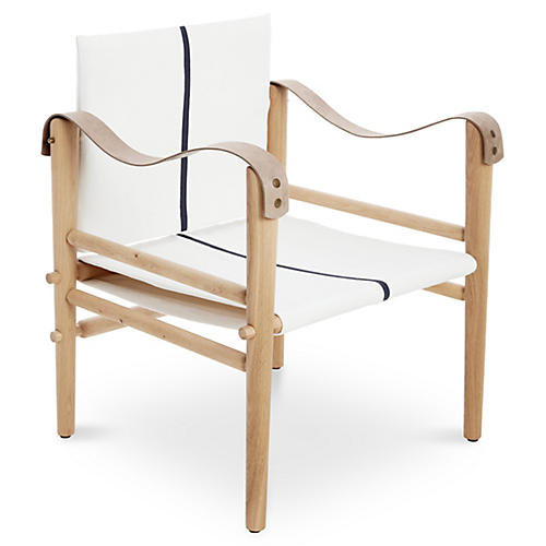 Toulouse Accent Chair, Ivory/Navy Linen