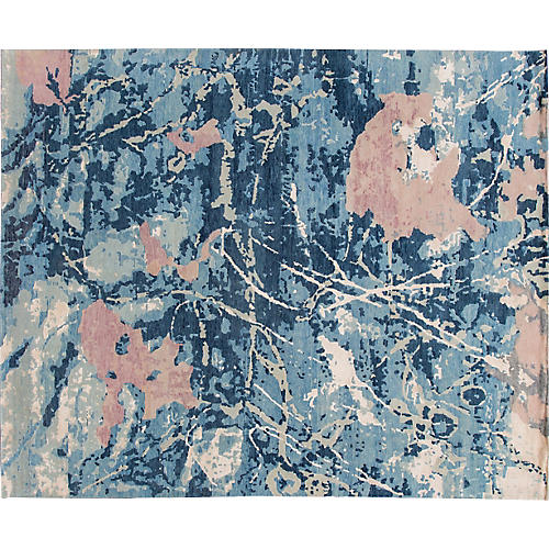 "8'3""x10'1"" Modern Hand-Knotted Rug, Blue"