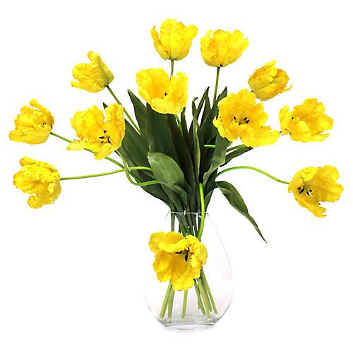 """31"""" Parrot Tulip Arrangement w/ Vase, Faux"""