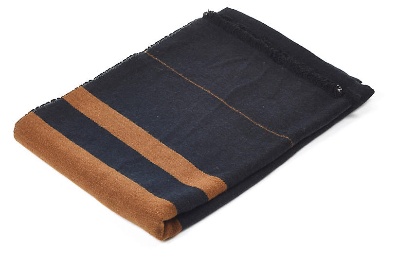 Oscar Linen Throw, Black Stripe