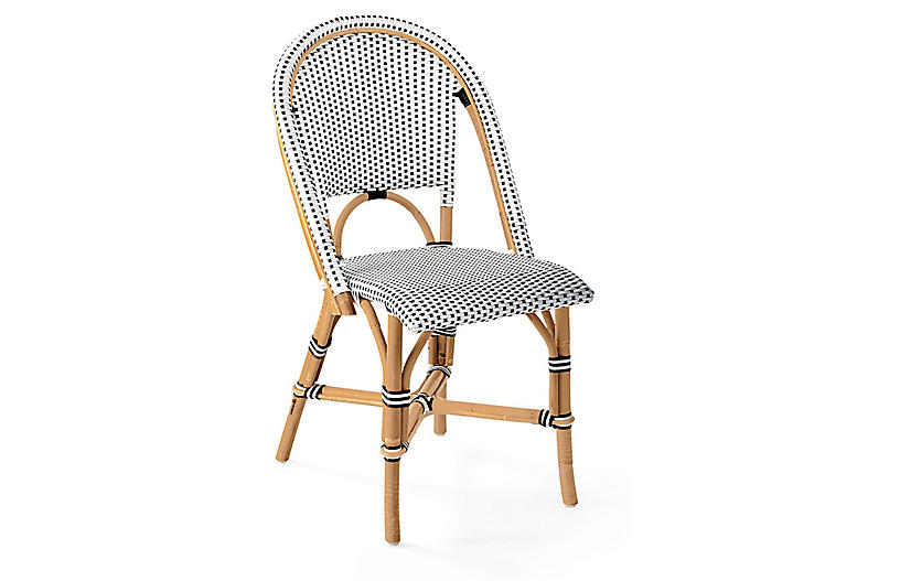 Riviera Side Chair, Black/White