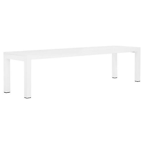 Tate Backless Bench, White/Optic White