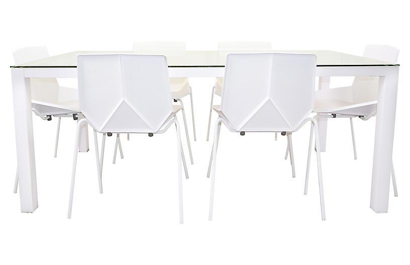 Modern 7-Pc Dining Set, White