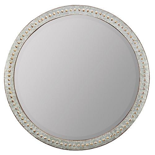 Brier Round Wall Mirror, Silver/Gold