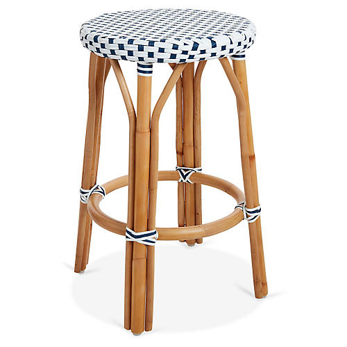 Chloe Bistro Counter Stool, White/Navy