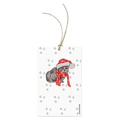S/12 Gray Cat Gift Tags