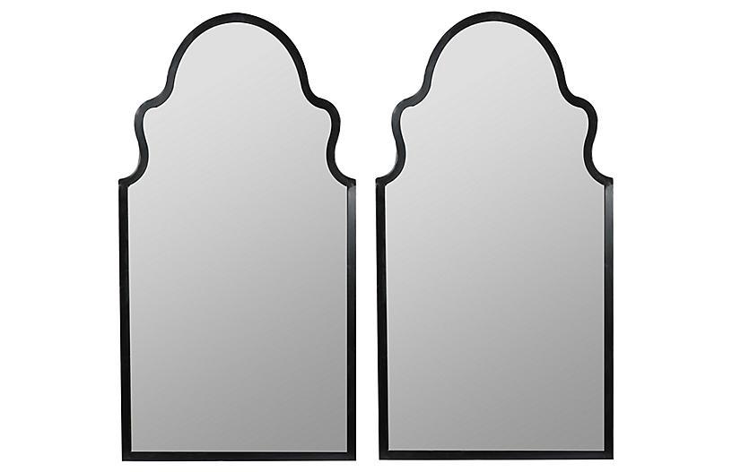 S/2 Bianca Wall Mirrors, Black