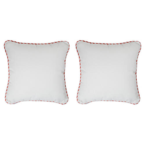 S/2 Kit Outdoor Cord Pillows, White/Pink