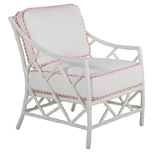 Kit Lounge Chair, White/Pink