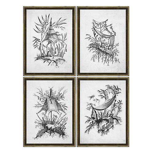 S/4 Black & White Asian Etchings