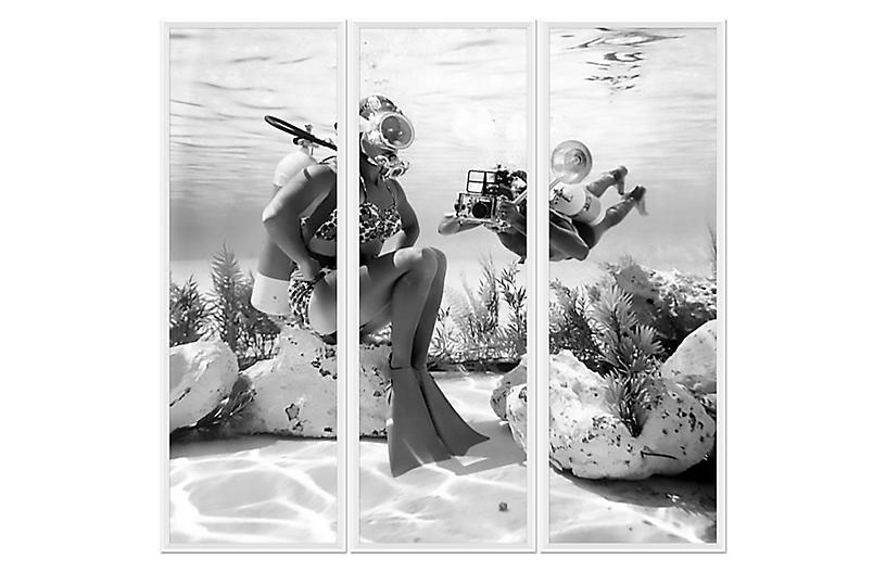 Scuba Diver Triptych