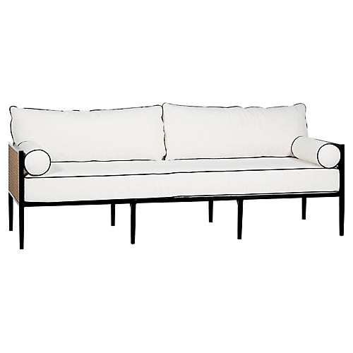 Newport Sofa, Black/White Black Welt