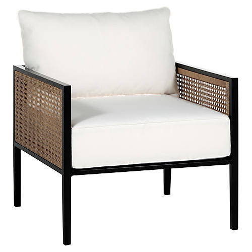 Newport Lounge Chair, Black/White