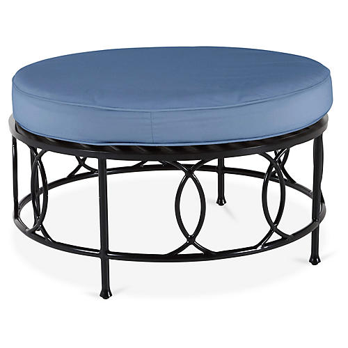 Frances Round Cocktail Ottoman, Ocean Blue