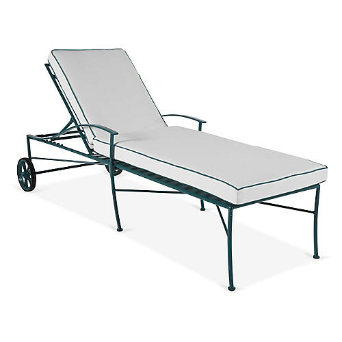 Kendal Chaise, Green/White