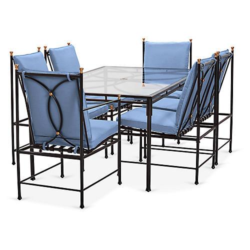 Frances 7-Pc Dining Set, Ocean Blue
