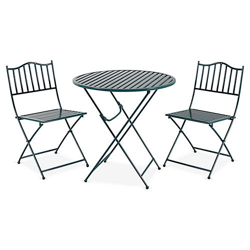 Natalie 3-Pc Folding Bistro Set, Green