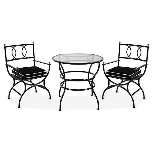 Frances 3-Pc Bistro Dining Set, Black/White