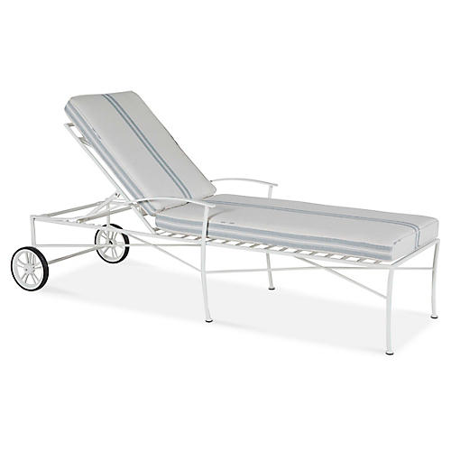 Kendal Chaise, White/Mist Stripe