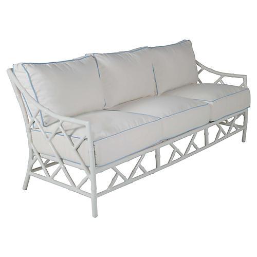 Kit Sofa, White/Blue Sunbrella