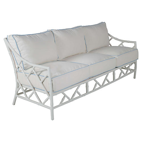 Kit Sofa, White/Blue Sunbrella