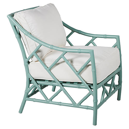 Kit Lounge Chair, Celadon/White