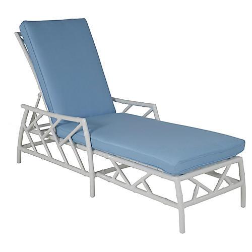 Kit Chaise, Blue/White Sunbrella