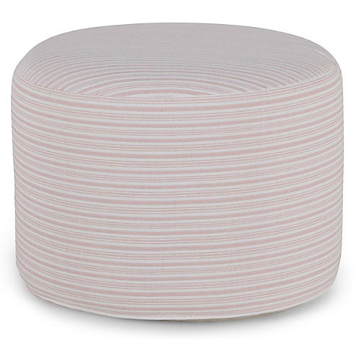 Kit Round Pouf, Pink/White Stripe