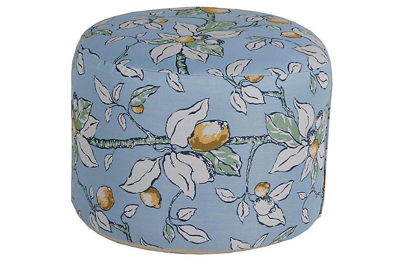Kit Round Pouf, Lemons Sunbrella
