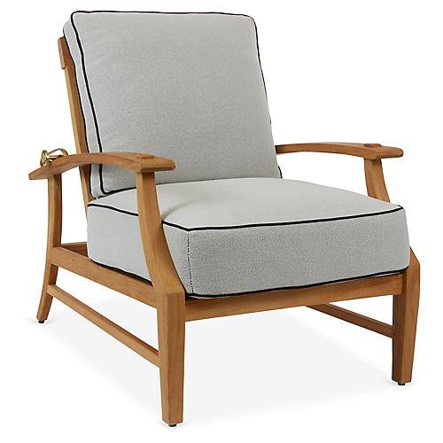 Croquet Recliner Lounge Chair, White/Black