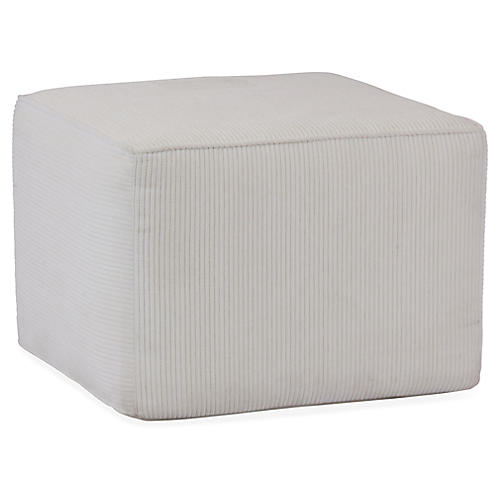 Ribbed Chenille Pouf, White