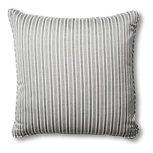 S/2 Frances Pillows, Black/White Stripe