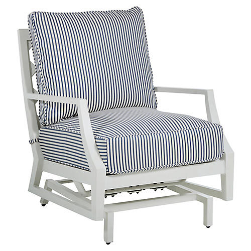 Lattice Spring Lounge Chair, Blue/French Linen