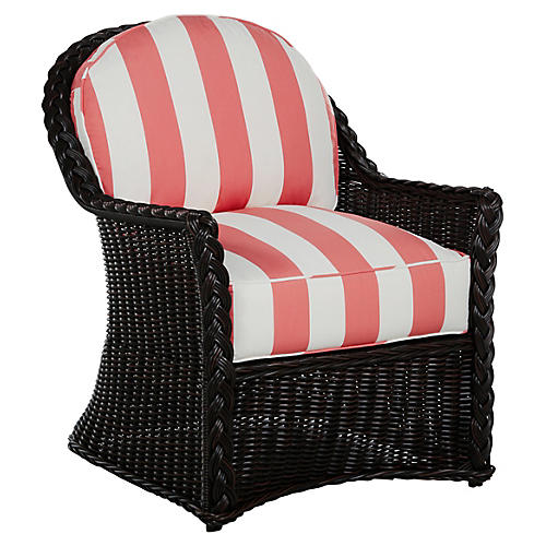 Sedona Lounge Chair, Coral/Black